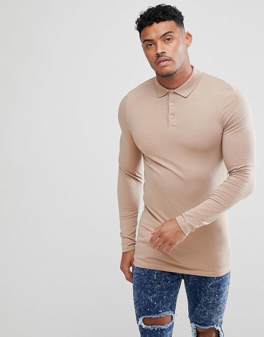 c4fff2f9 Lyst - ASOS Longline Muscle Fit Long Sleeve Jersey Polo in Natural ...
