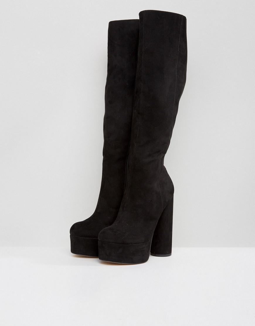 803362a94b3 Lyst - ASOS Captive Platform Knee Boots in Black