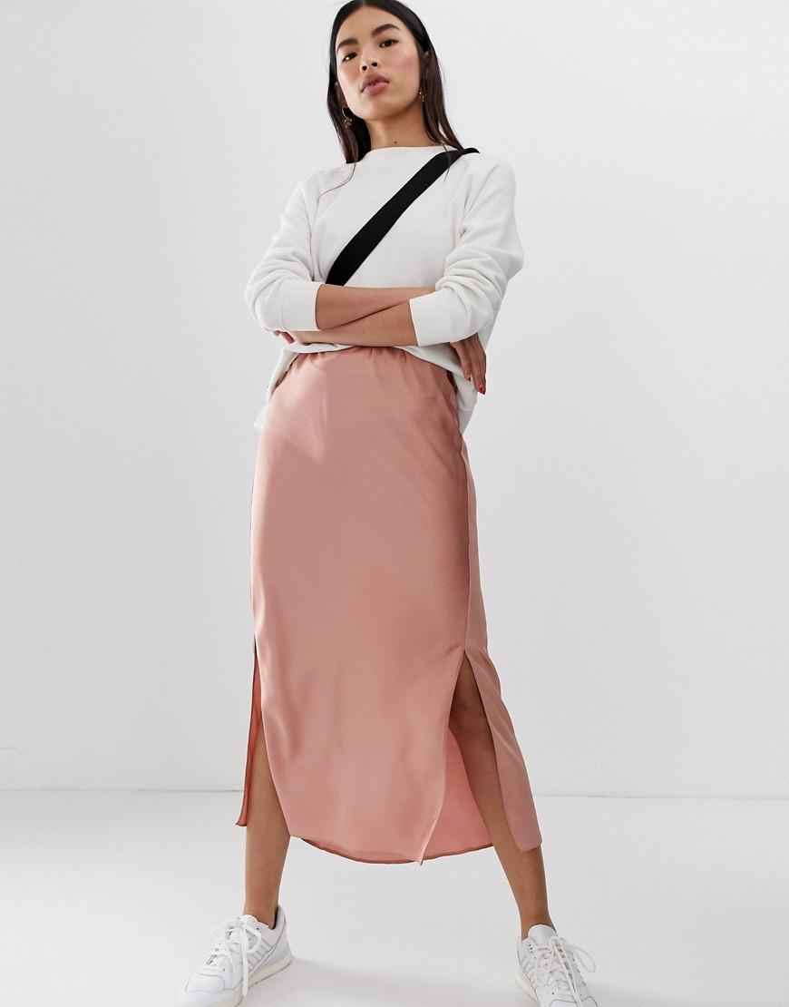 59dcc91a5a Lyst - ASOS Bias Cut Satin Midi Skirt With Splits in Pink