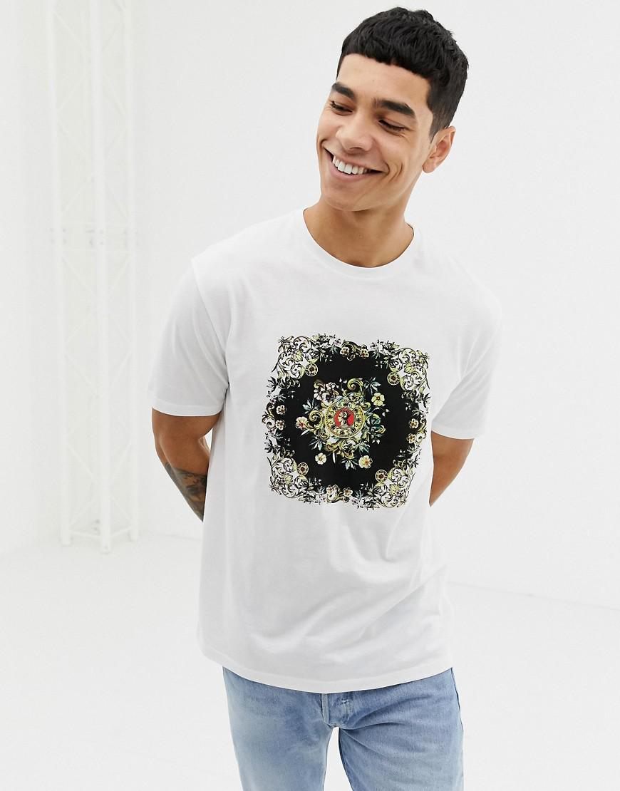 bfb53b58 ASOS - White Relaxed T-shirt With Floral Emblem Print for Men - Lyst. View  fullscreen