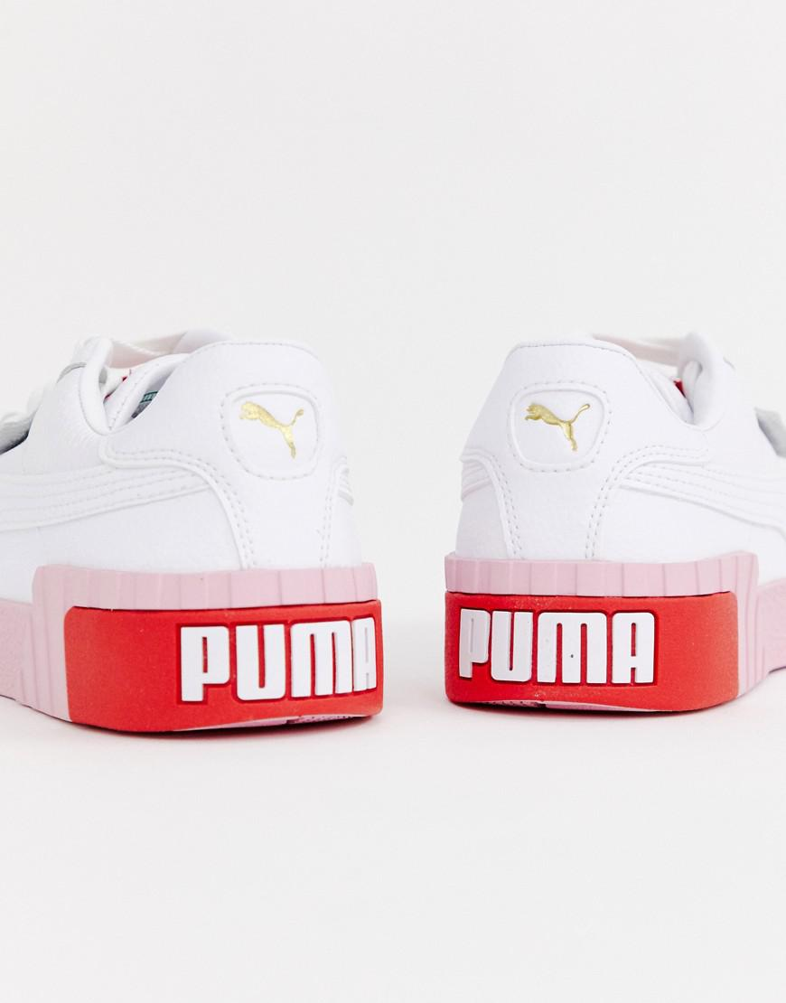 796952400dbf PUMA Cali White And Pink Trainers in White - Lyst