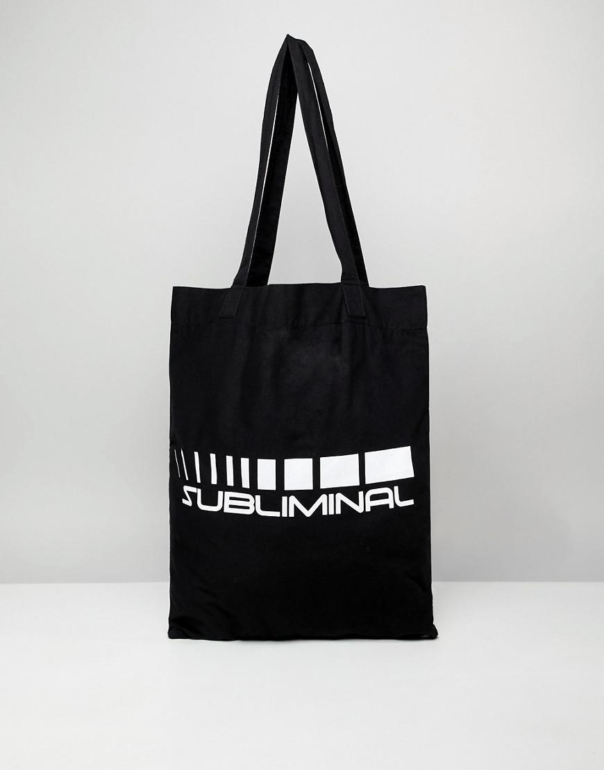 Lyst - ASOS Organic Tote Bag In Black With Subliminal Print in Black ... c9ca56b7da2d9