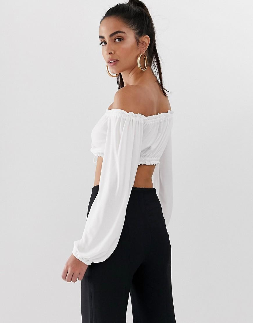 5e90f1b71c6 Flounce London Bardot Crop Top With Ruched Detail In White in White - Lyst