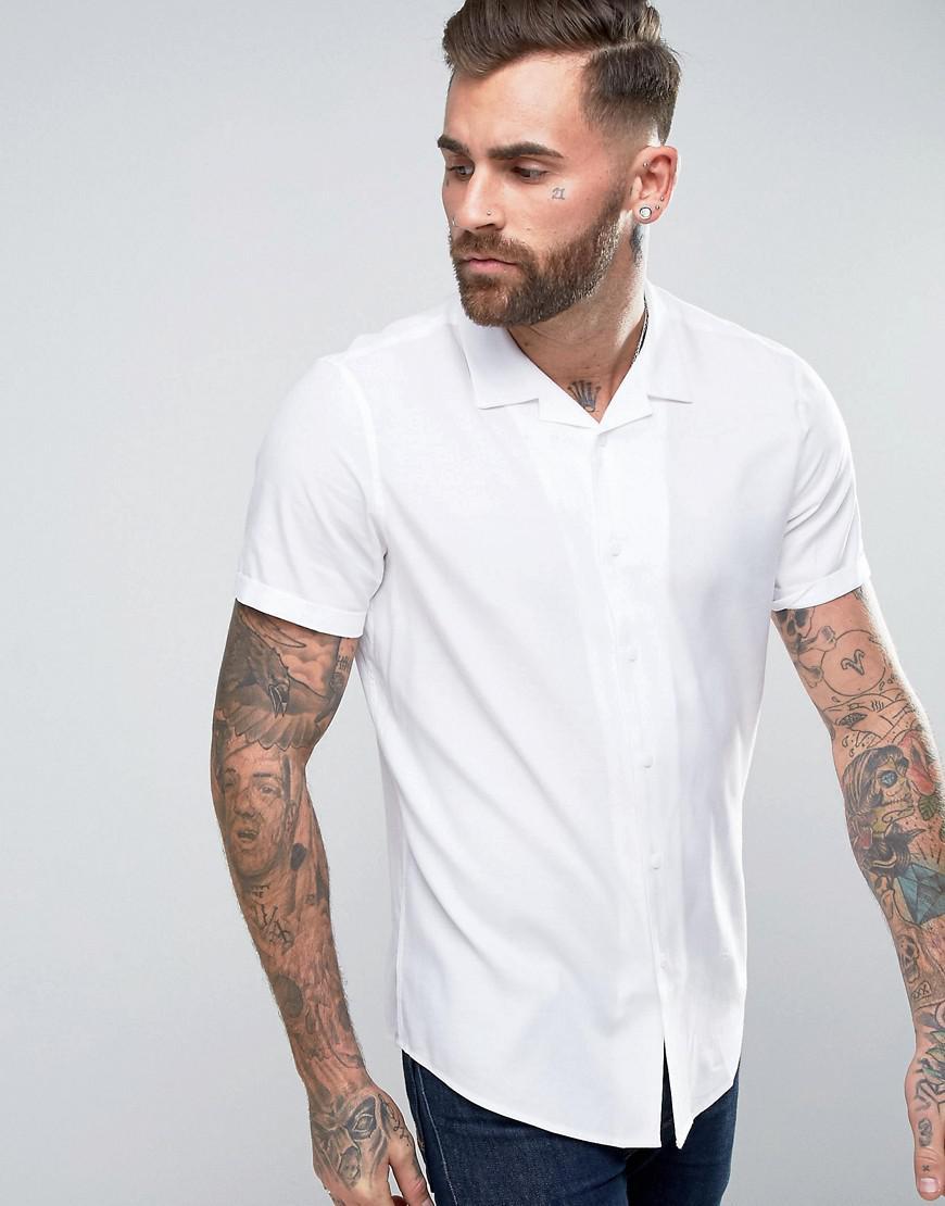 ASOS. Men's Oversized Shirt In White With Revere Collar