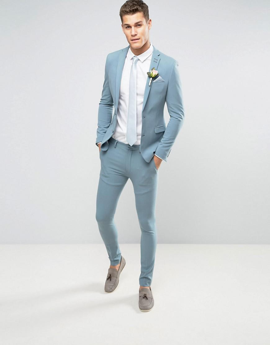 Lyst - Asos Wedding Super Skinny Suit Trousers In Pastel Blue in ...