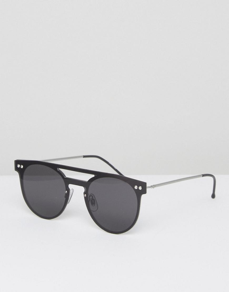 e223b30ab14c9 Spitfire Round Sunglasses With Brow Bar In Black in Black for Men - Lyst