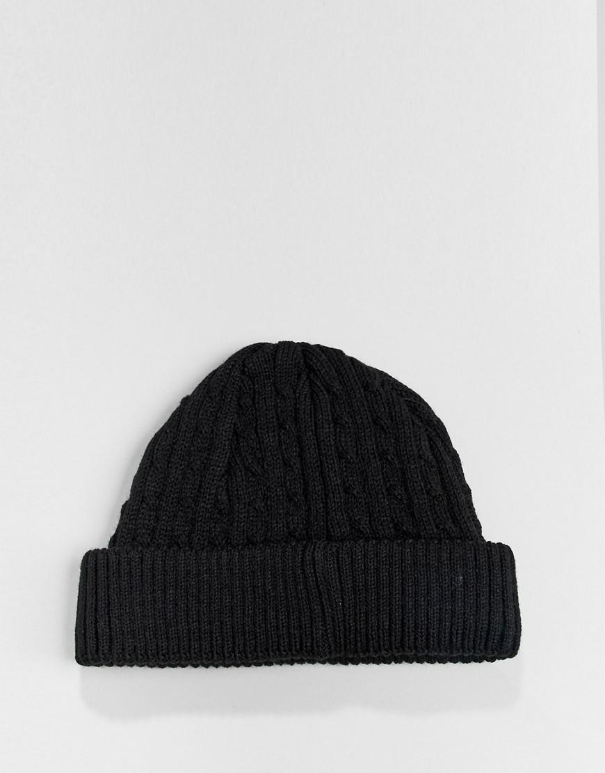 3b3ced632c3 ASOS Mini Fisherman Beanie In Black Cable Knit in Black for Men - Lyst