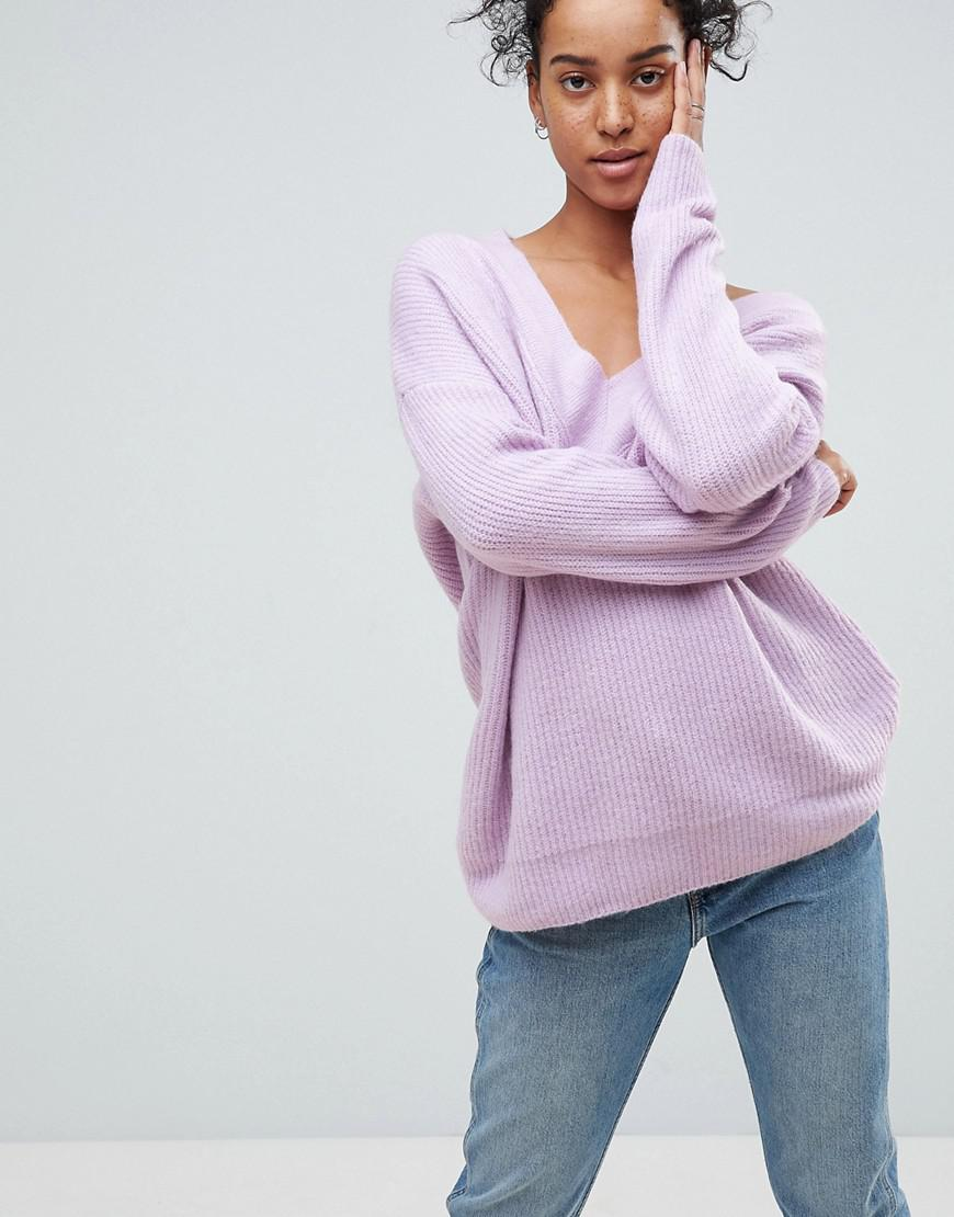Lyst - ASOS Asos Chunky Sweater In Oversized With V Neck in Purple 714559a58