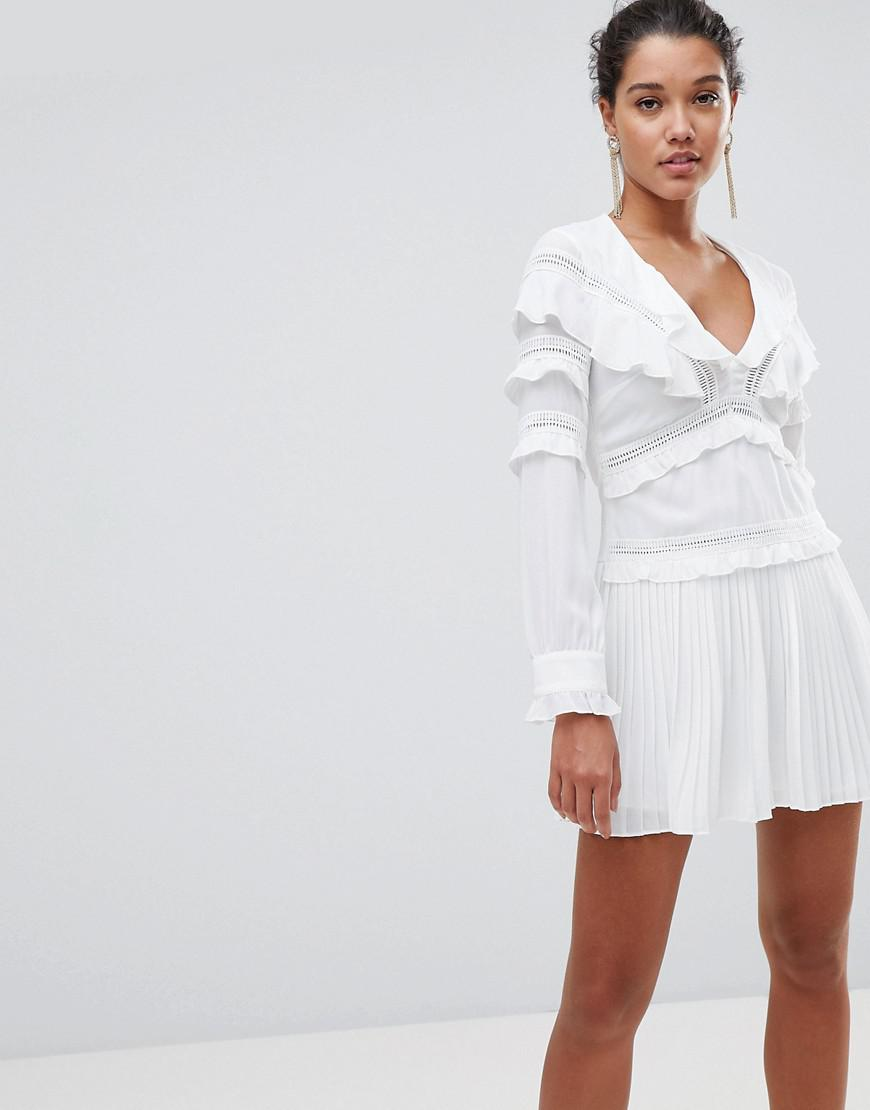 685baaef16f PrettyLittleThing Pleated Frill Detail Dress in White - Lyst