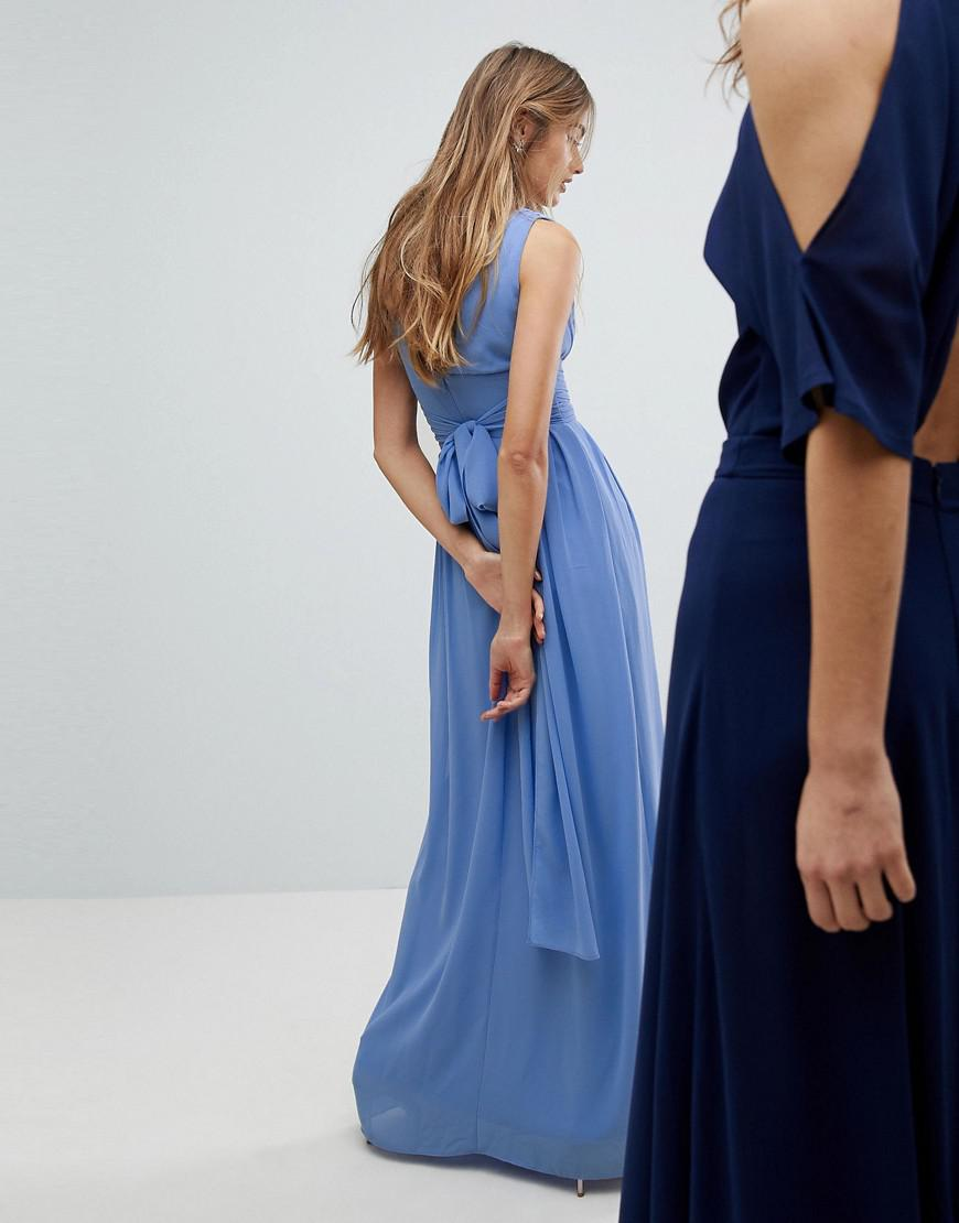 6e6e25e479f8 TFNC London Wrap Front Maxi Bridesmaid Dress With Tie Back in Blue - Lyst
