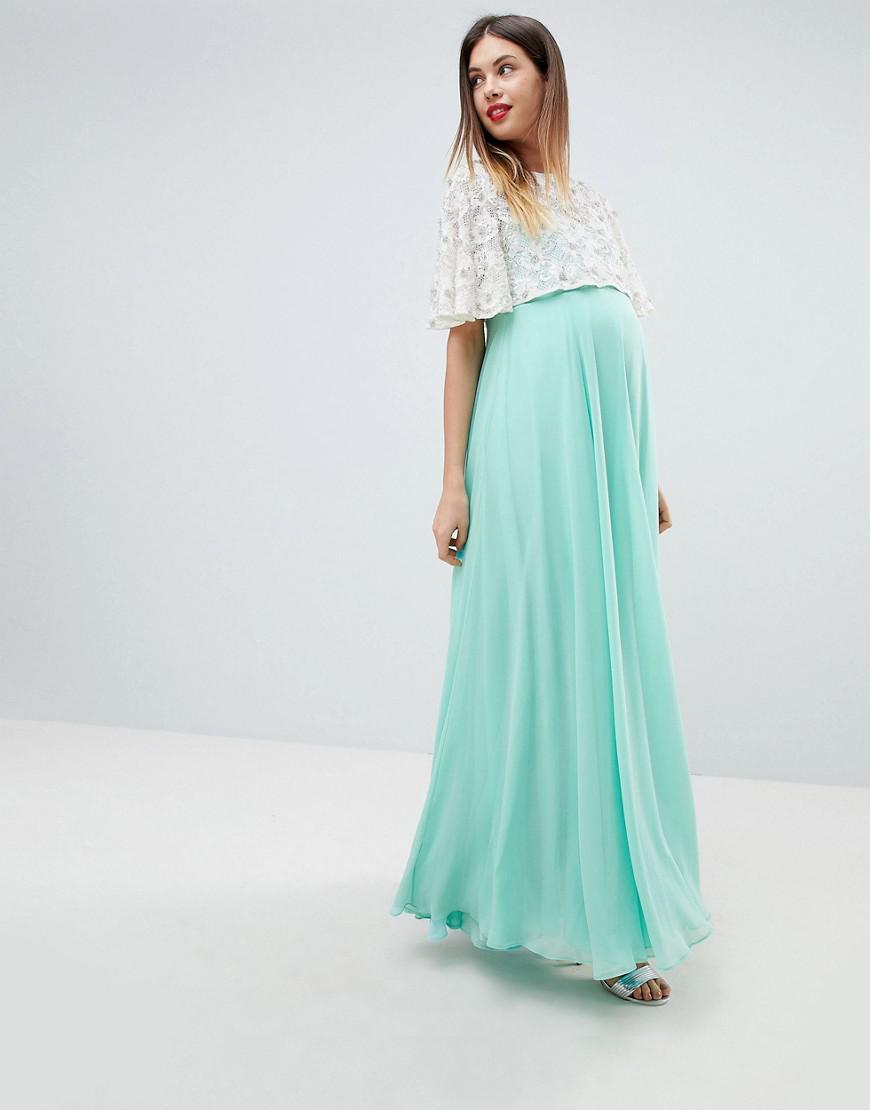 1335cfa6d8 ASOS. Women s Green Asos Design Maternity Lace Embellished Crop Top Maxi  Dress