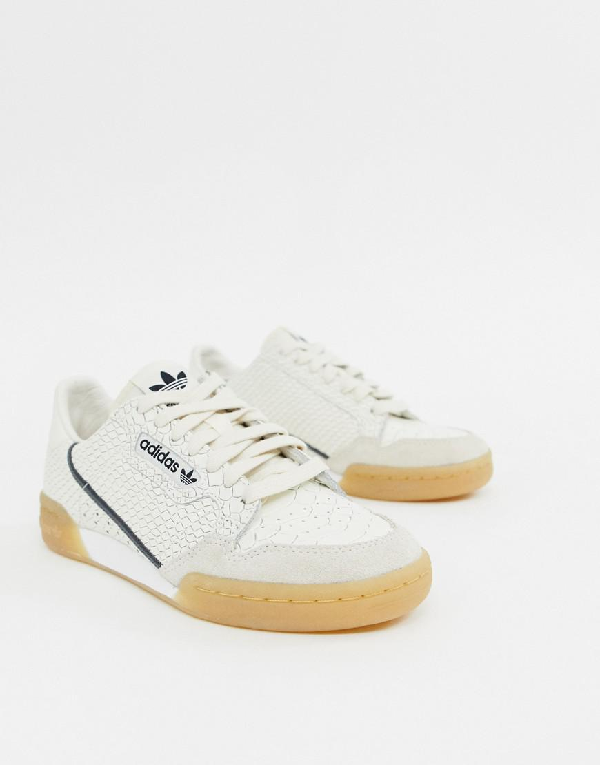 99b66a2f adidas Originals. Women's Continental 80 Sneakers In White Snakeskin With Gum  Sole