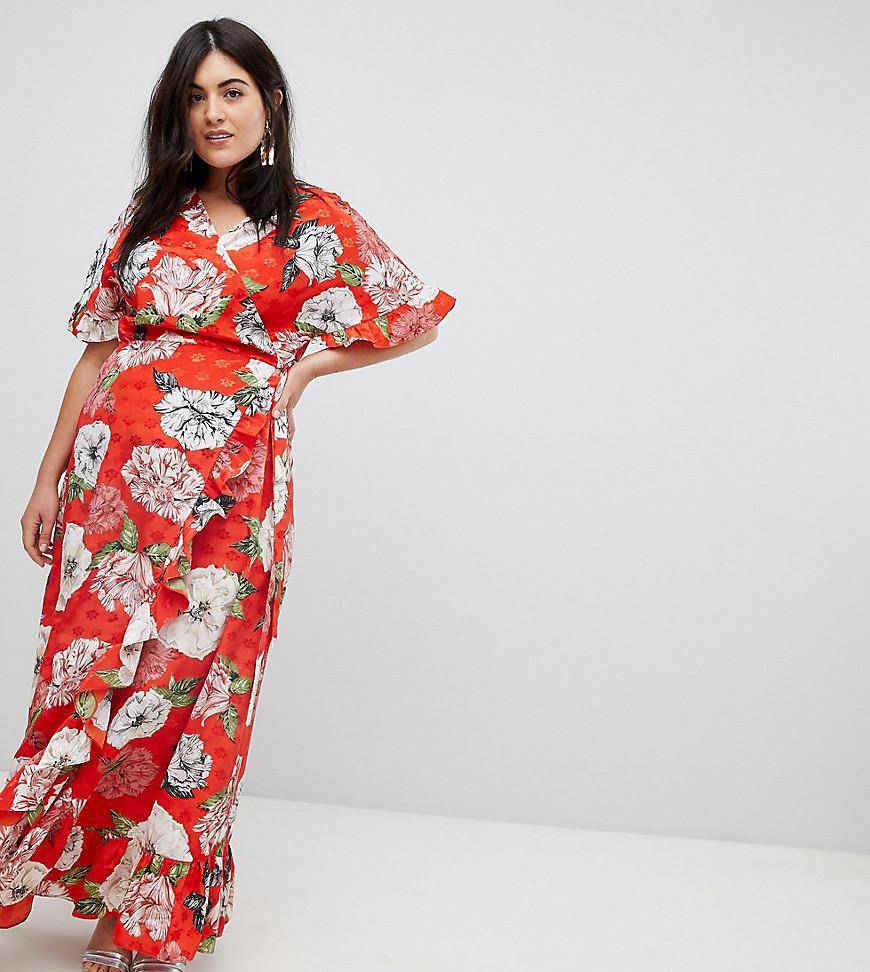 8f720fd422 ASOS. Women s Red Asos Design Curve Ruffle Wrap Maxi Dress In Floral  Jacquard