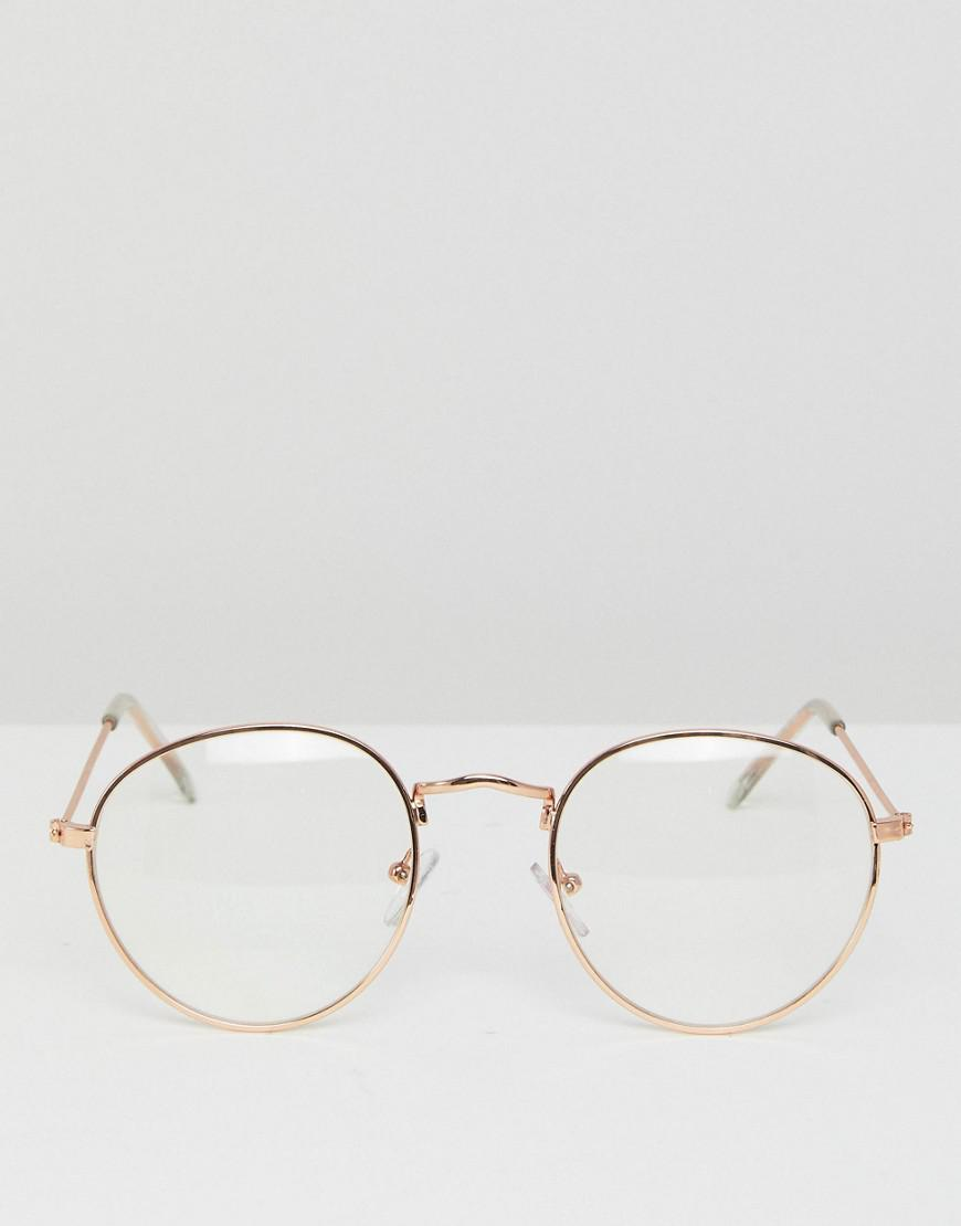 b55b6d0713 Lyst - ASOS Metal Round Glasses With Clear Lens In Gold in Metallic for Men