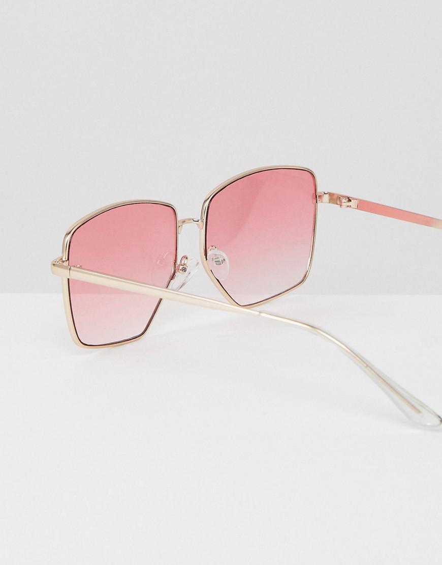 Lyst - Lunettes de soleil carres tendance avec monture mtallique et verres  dgrads roses ASOS en coloris Métallisé bf5433b3d499