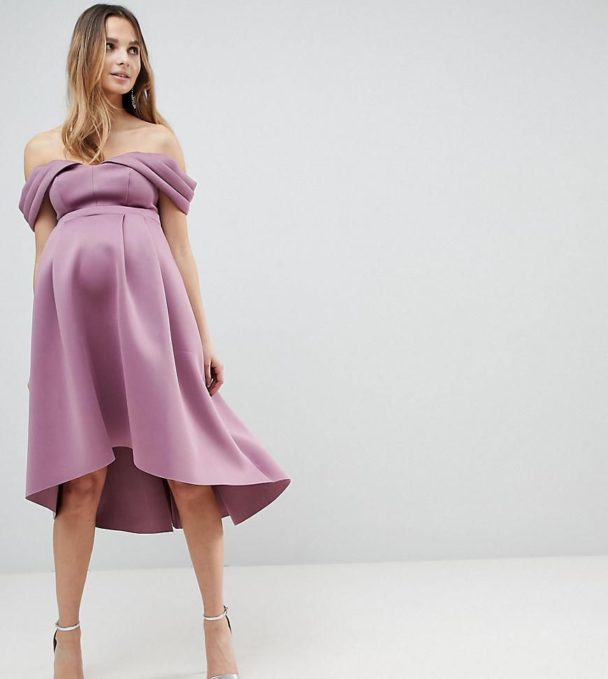 Bardot Cold Shoulder Dip Back Midi Prom Dress - Pink Asos Petite nVAl5b