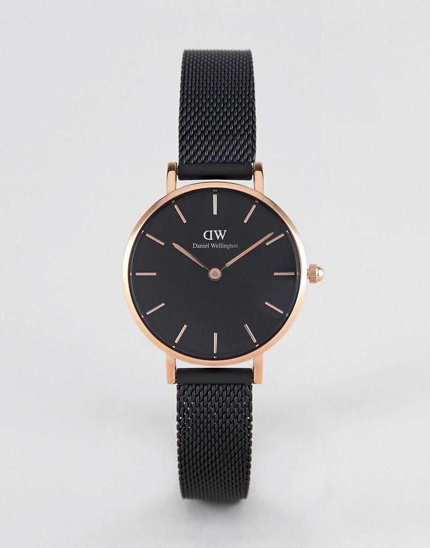 dab763bc354a Daniel Wellington. Men s Petite Ashfield Leather Watch In Black   Rose Gold  28mm