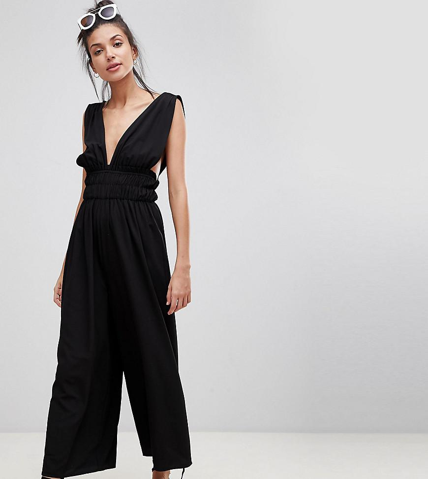 70d633c8efc ASOS Asos Design Tall Ruched Waist Plunge Jumpsuit in Black - Lyst