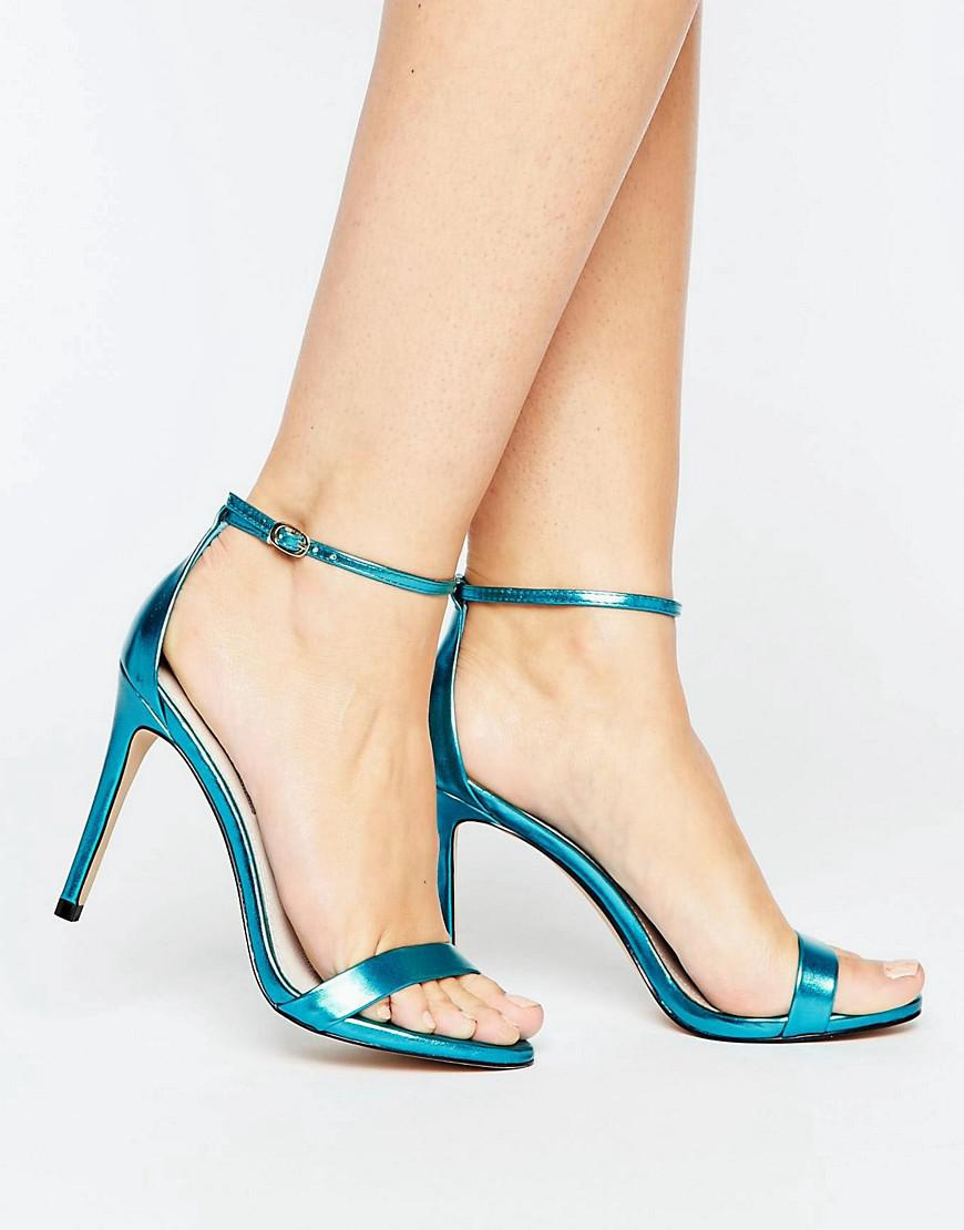 5ec76f6b227 Steve Madden Stecy Metallic Blue Barely There Heeled Sandals in Blue ...