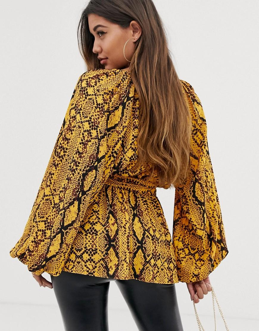 0f5611fde953f Lyst - ASOS Long Sleeve Plunge Top With Kimono Sleeve And Belt In Snake  Animal Print in Brown