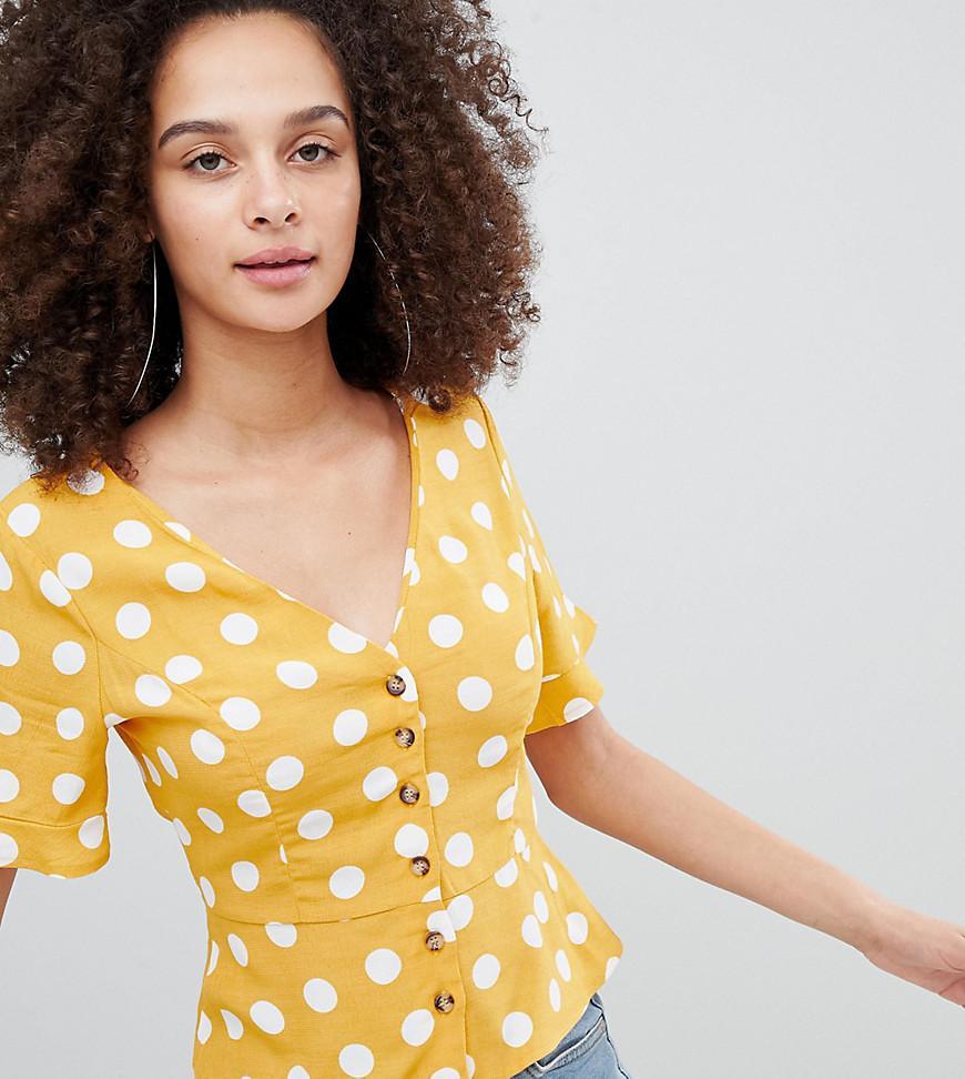 39c98b92b20fa0 Bershka Button Down Polka Dot Print Blouse In Yellow in Green - Lyst