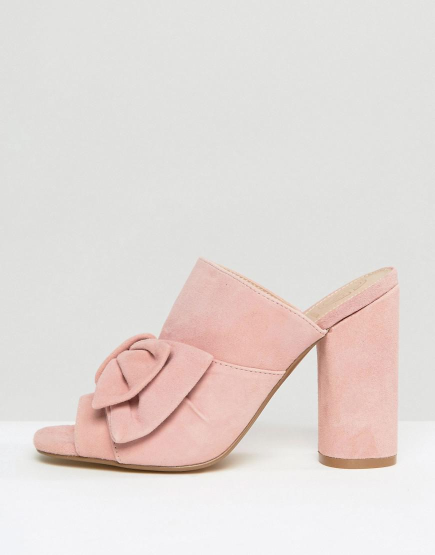 604a5e40a6 Kurt Geiger Kg By Kurt Keiger Jessika Pink Suede Bow Heeled Mules in Pink -  Lyst