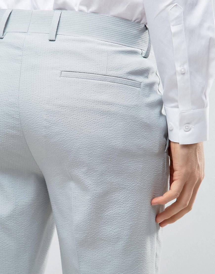 Lyst - Asos Skinny Smart Pants In Sage Green Seersucker Stripe in ...