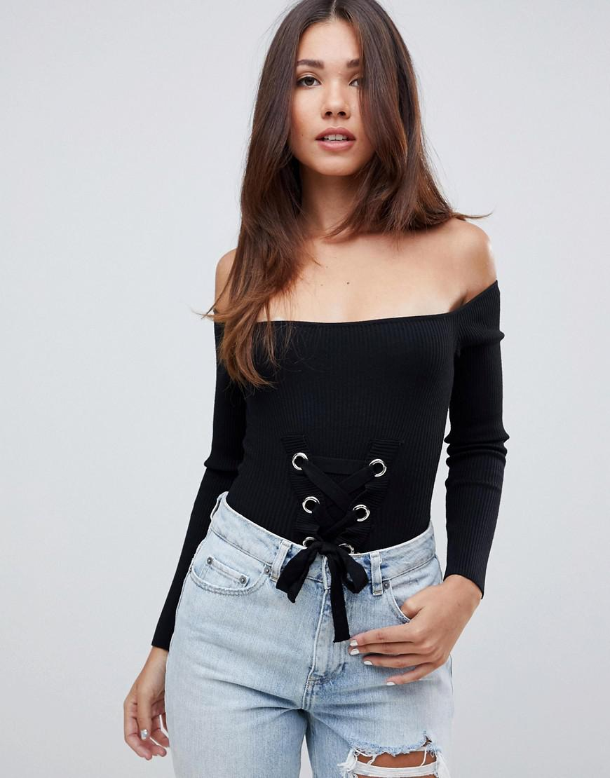 Missguided Lace Up Bardot Knitted Bodysuit in Black - Lyst 6866c0219