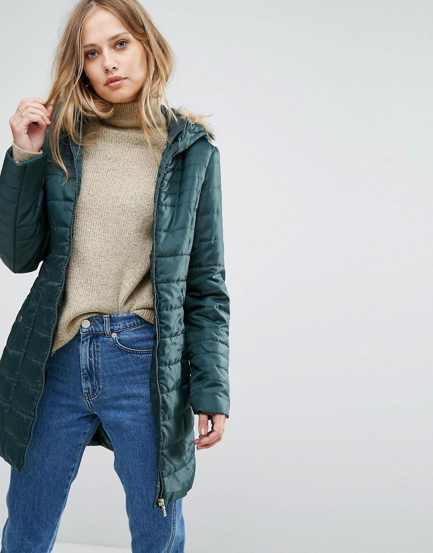 Vero moda Padded Parka With Faux Fur Hood in Green | Lyst
