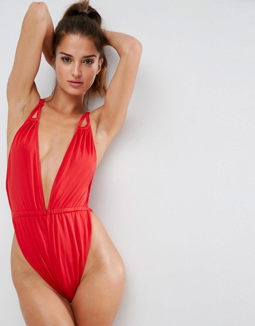 403d51a6b497b ASOS Glam High Leg Gathered Strappy Plunge Swimsuit in Red - Lyst