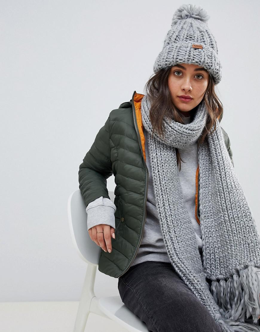 ee47b26f899 Barbour Chunky Knit Bobble Hat And Scarf Set in Gray - Lyst