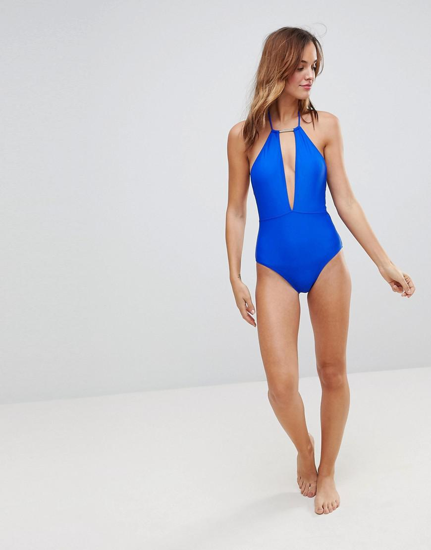bfd4149522 Ted Baker Plunge Front Halter Swimsuit in Blue - Lyst