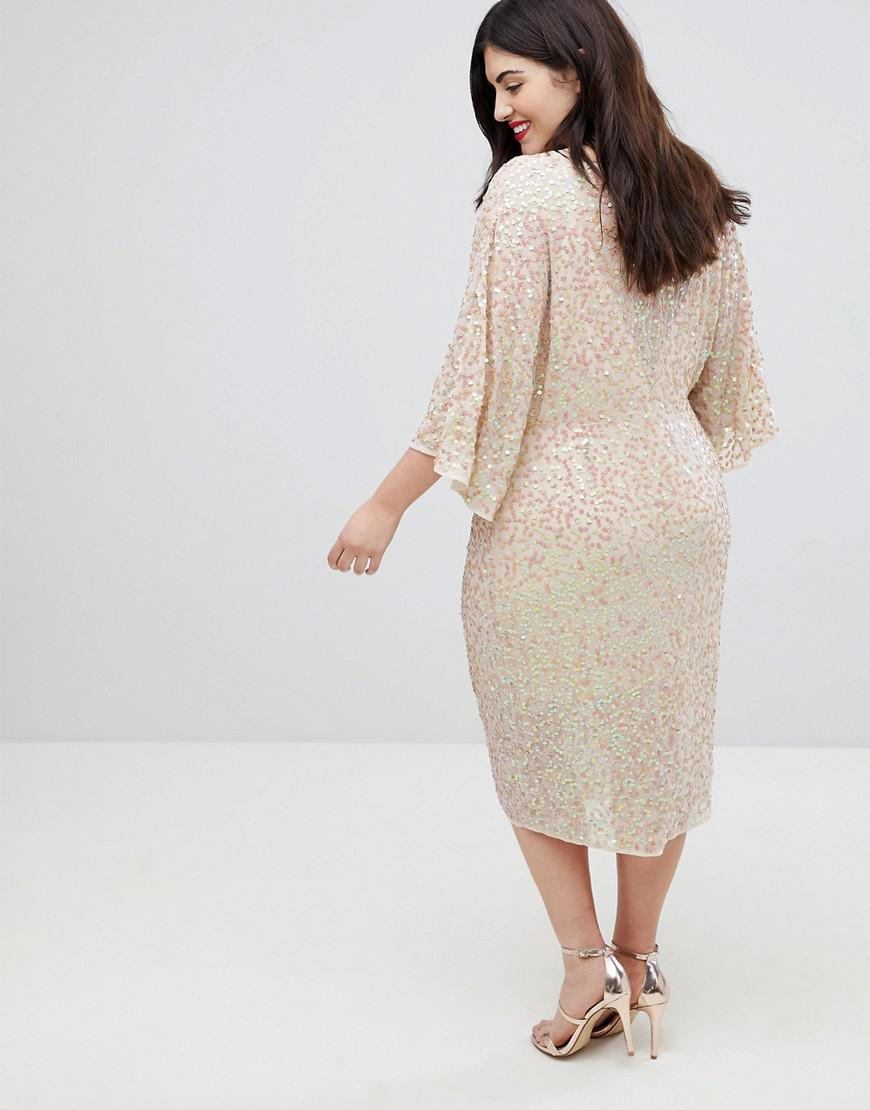 ba9d7b1cb38 ASOS Scatter Sequin Knot Front Kimono Midi Dress in Pink - Lyst