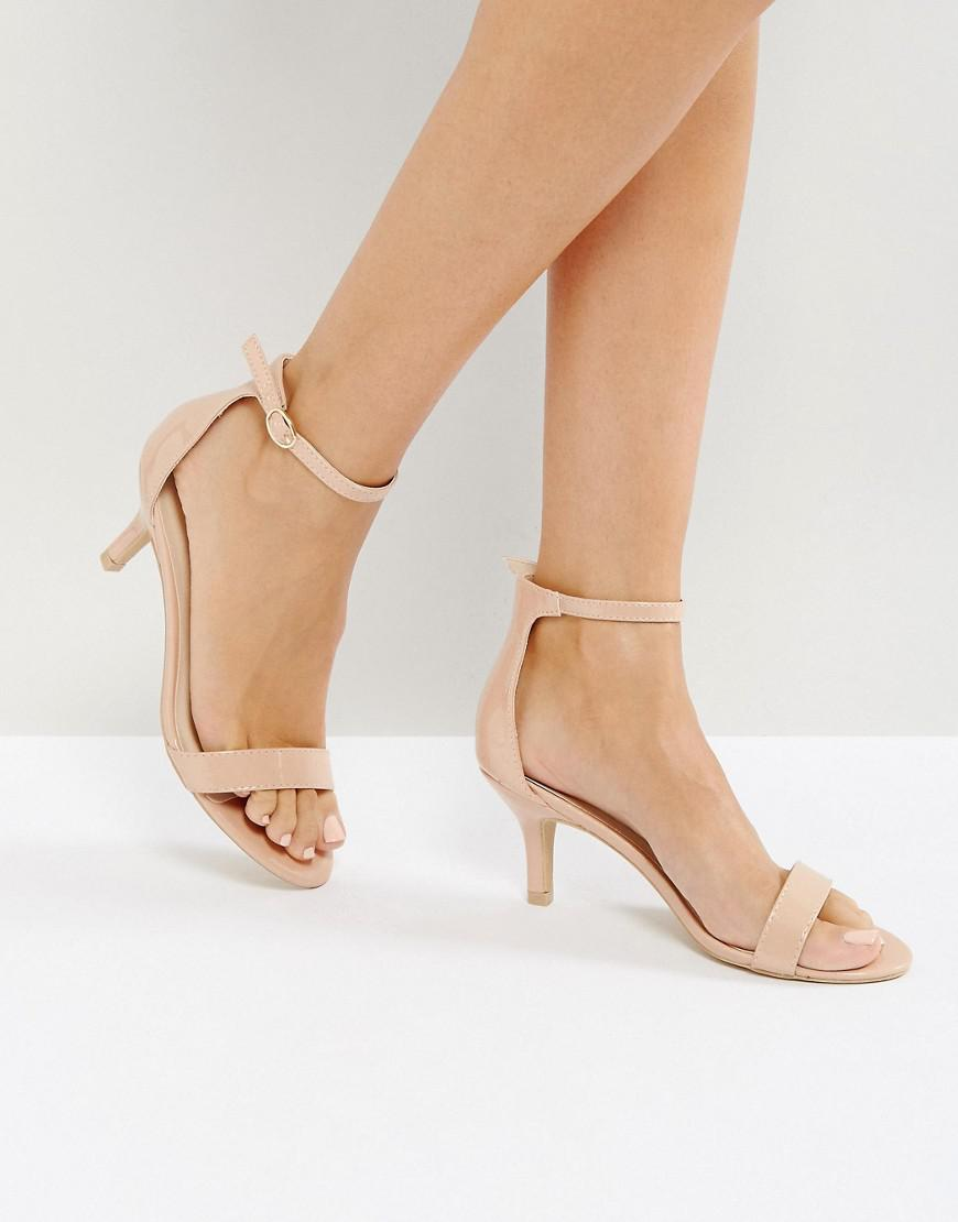 db776ceda3a Glamorous Nude Barely There Kitten Heeled Sandals in Natural - Lyst