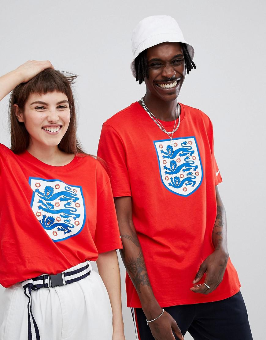 02f6255a Nike Nike Football England Crest Logo T-shirt In Red 908371-600 in ...
