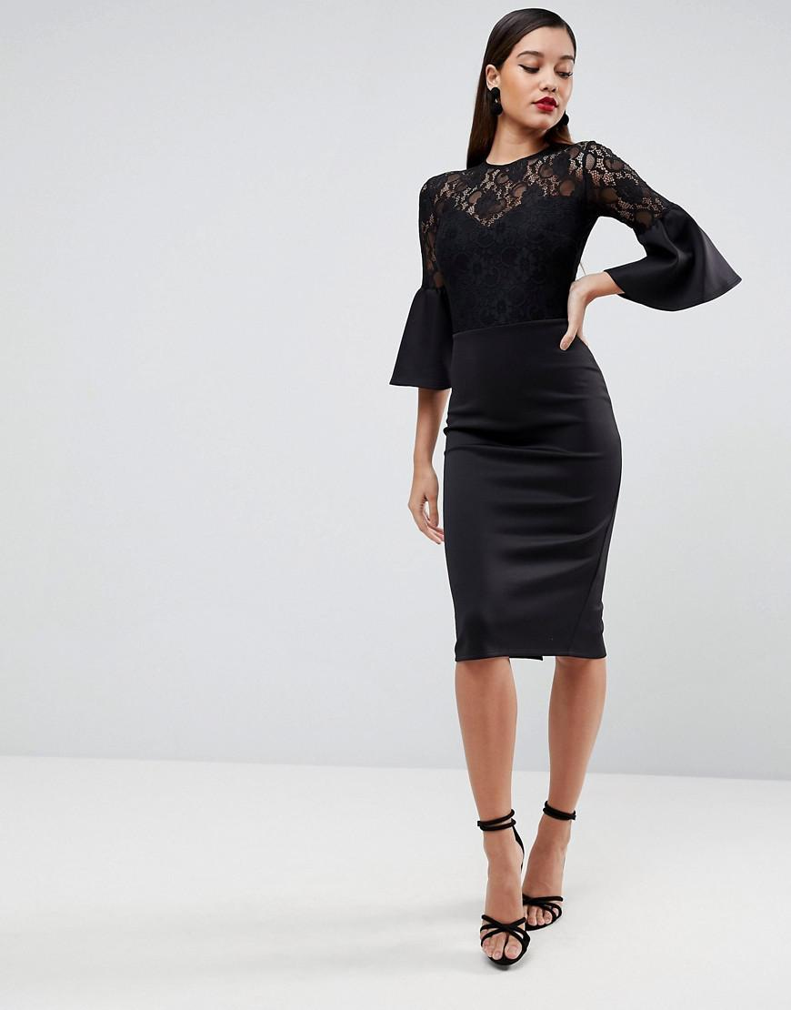 ae5ad33ab516 Lyst - ASOS Asos Lace Top Fluted Sleeve Bodycon Midi Dress in Black