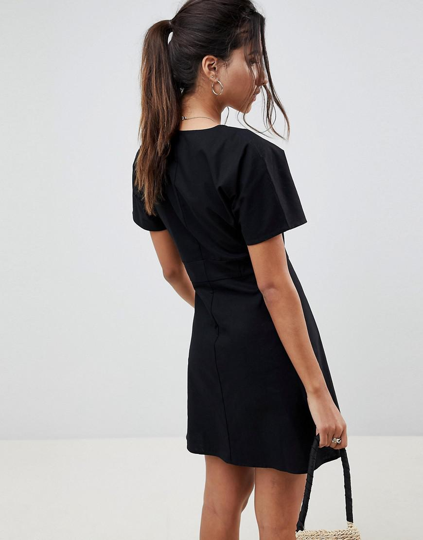 e34c930484fb ASOS Button Through Mini Casual Skater Dress in Black - Lyst