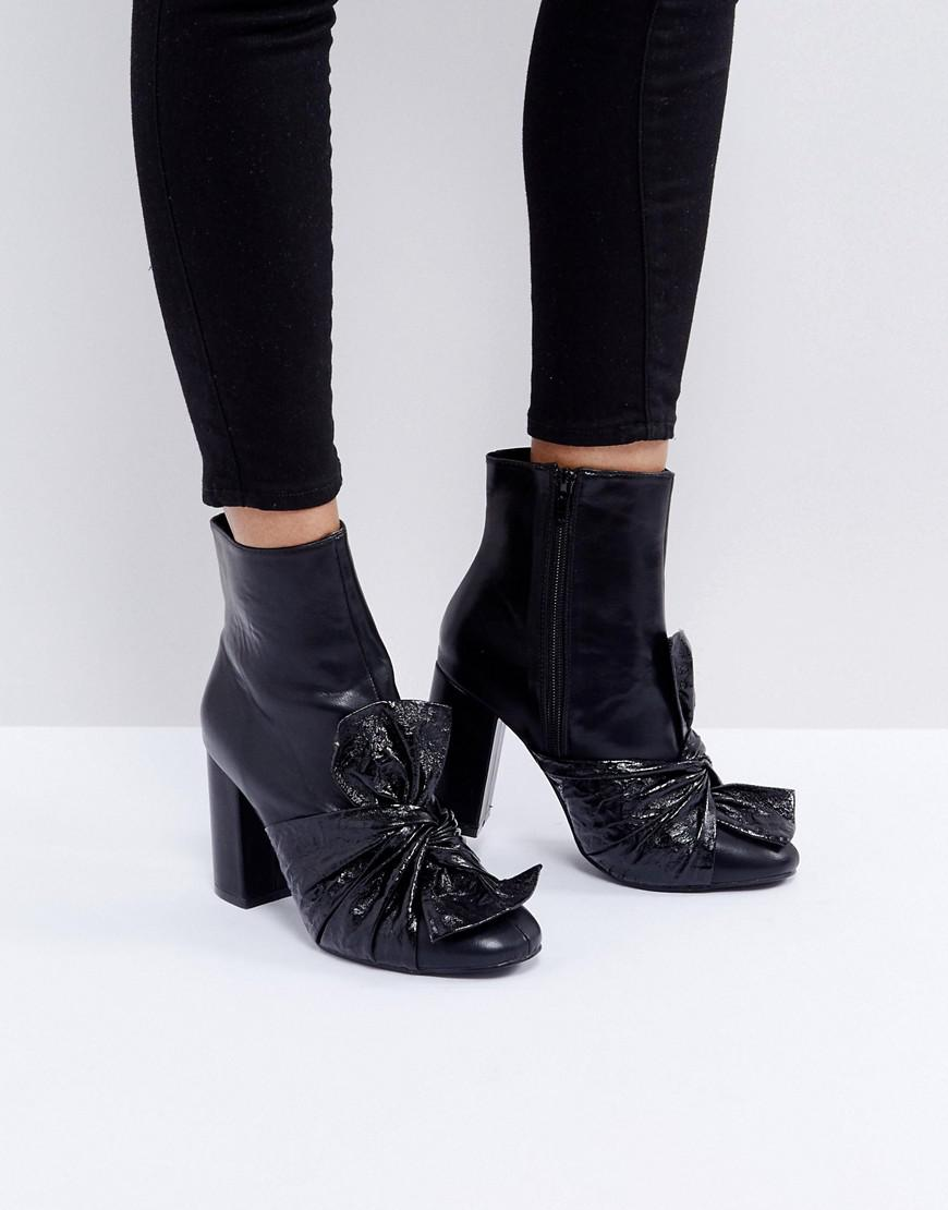 67024d89c3e1 Lost Ink Black Bow Heeled Ankle Boots in Black - Lyst