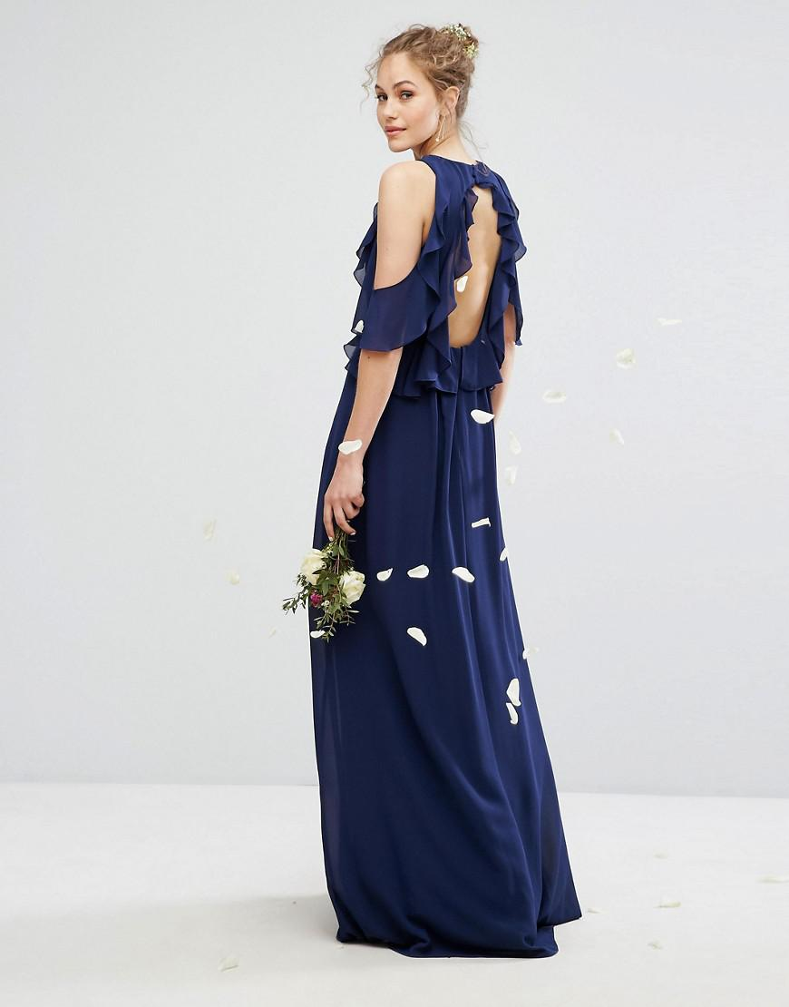 03accad2ad Lyst - TFNC London Wedding Frill Detail Maxi Dress in Blue