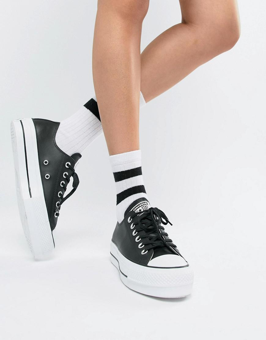 91a029fa84c2 Converse Chuck Taylor All Star Leather Platform Low Sneakers In Black in  Black - Lyst