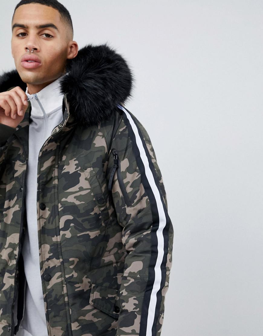 a5bf6753d4975 Lyst - Sixth June Parka Coat In Camo With Black Faux Fur Hood in ...