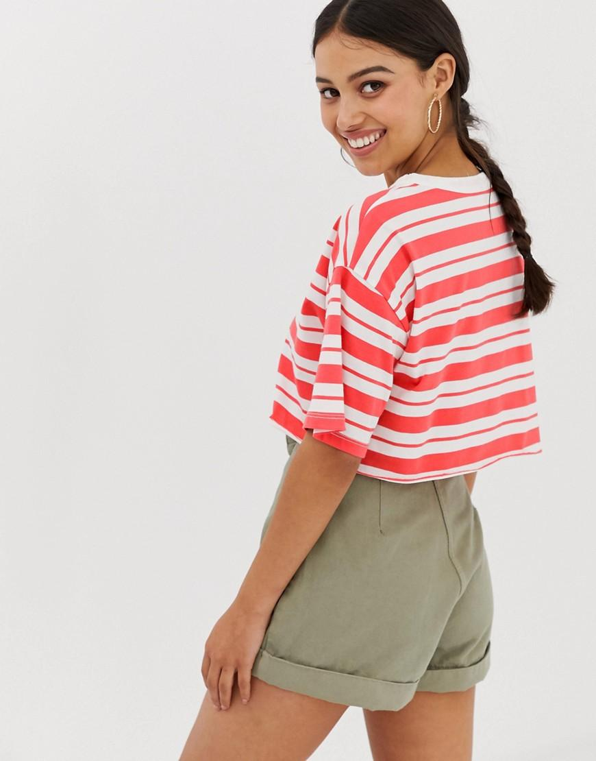 fd77d48a546b0 ASOS Asos Design Petite Super Crop T-shirt With Raw Edge In Stripe in Red -  Lyst