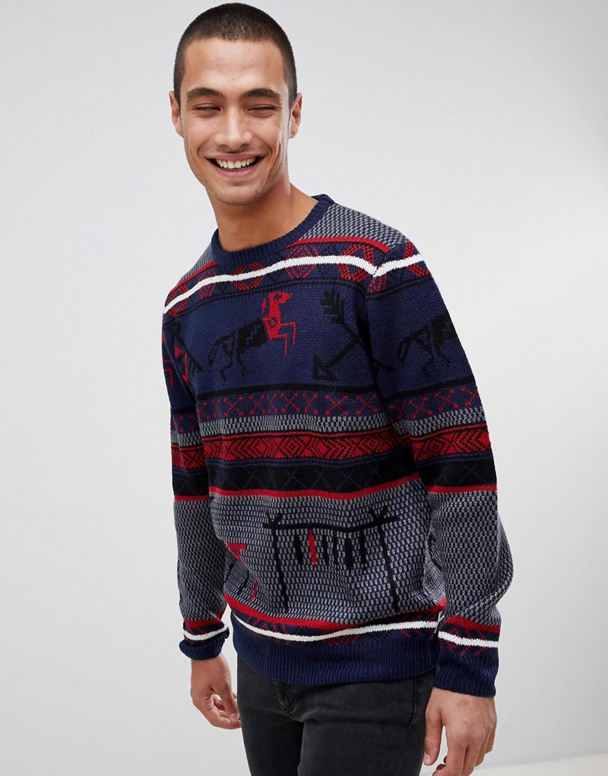Bellfield. Men's Blue Christmas Jumper Aztec Fairisle