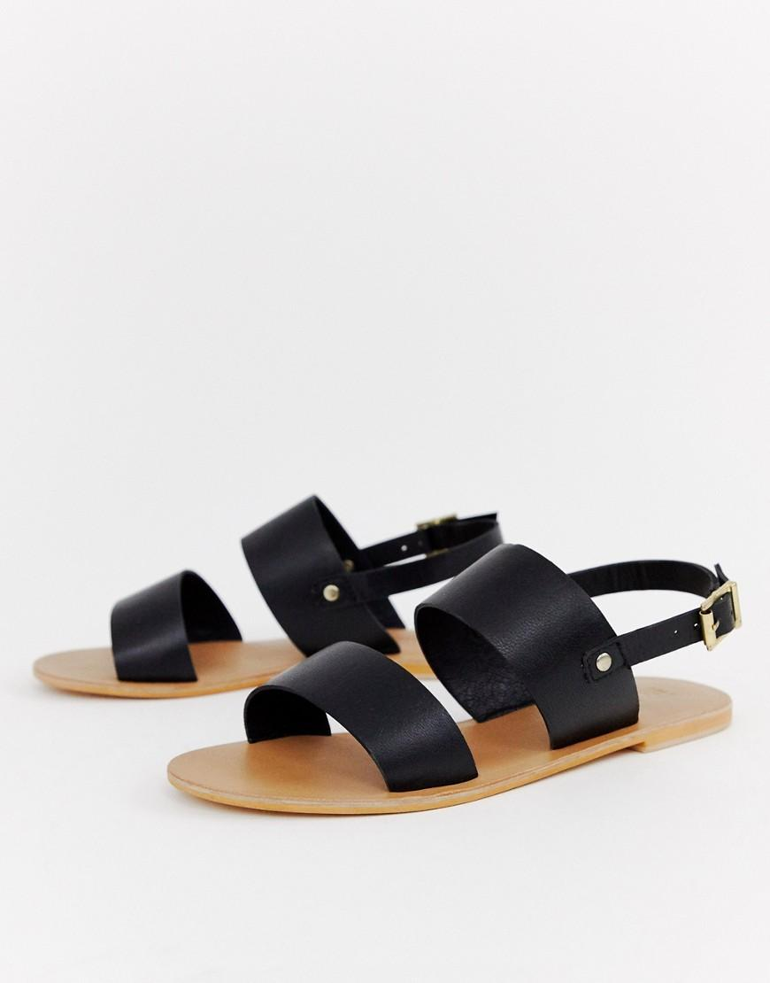 d8ddf00e3d88 Lyst - Asos Faye Leather Flat Sandals in Black