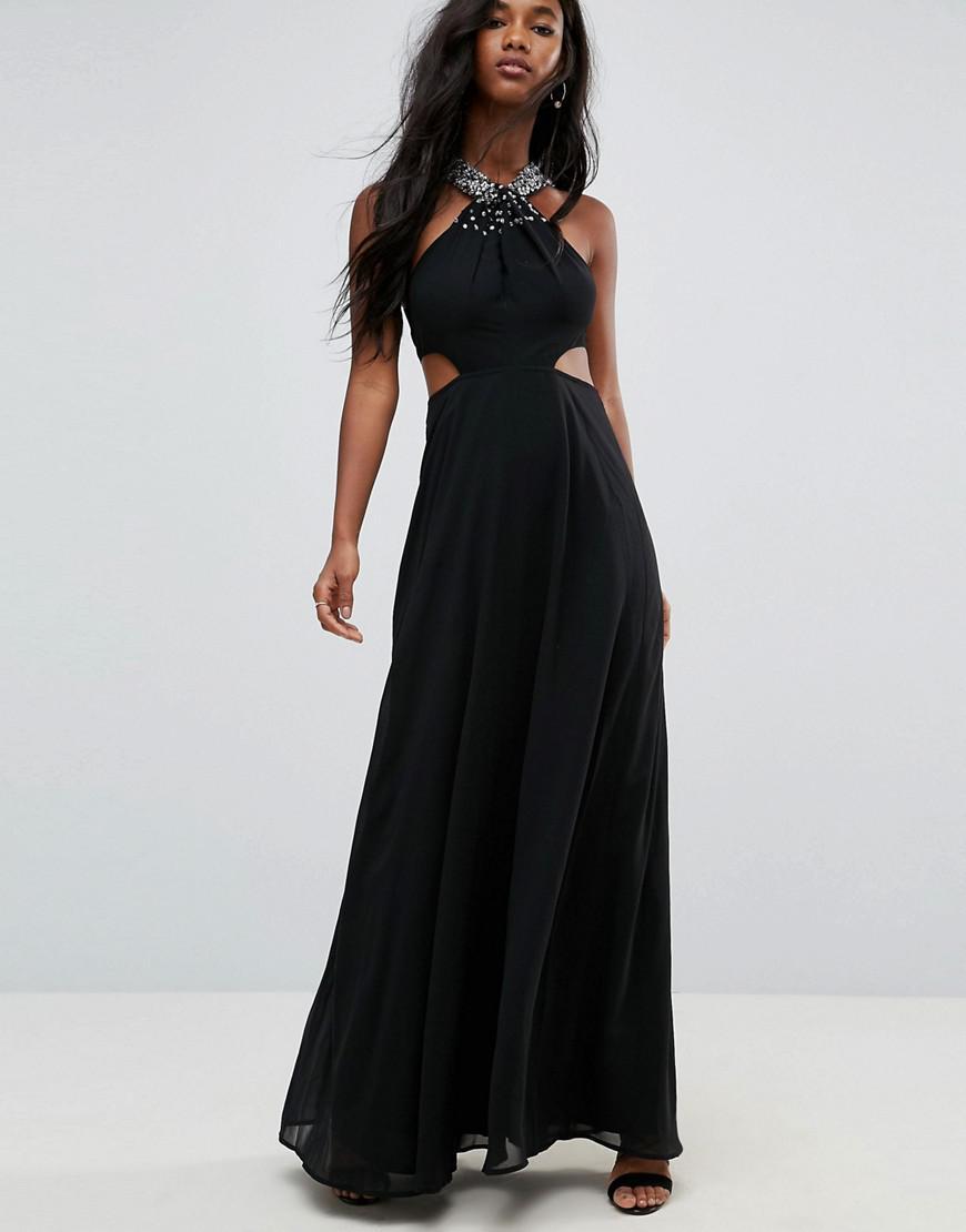 326879cb1c1df ASOS Asos Side Cut Out Embellished Trim Maxi Dress in Black - Lyst