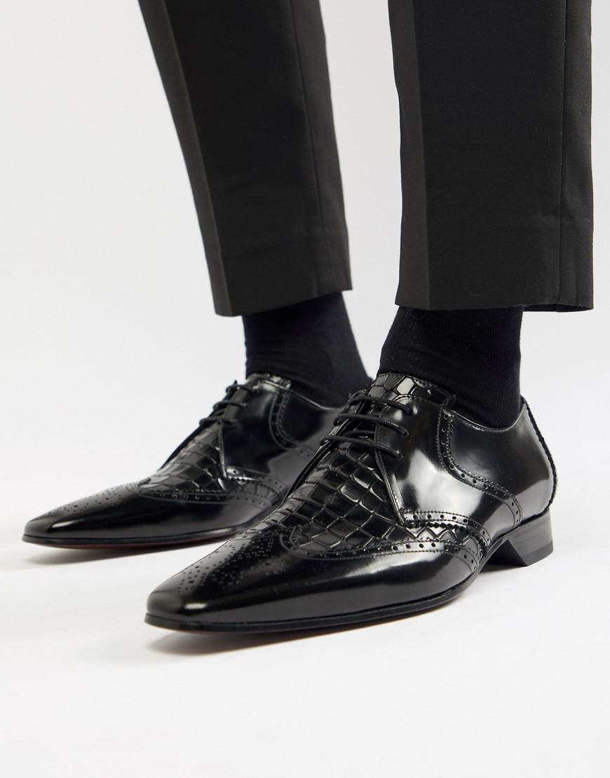 Escobar Croc Brogue Shoes in Black - Black Jeffery West 9BQdC