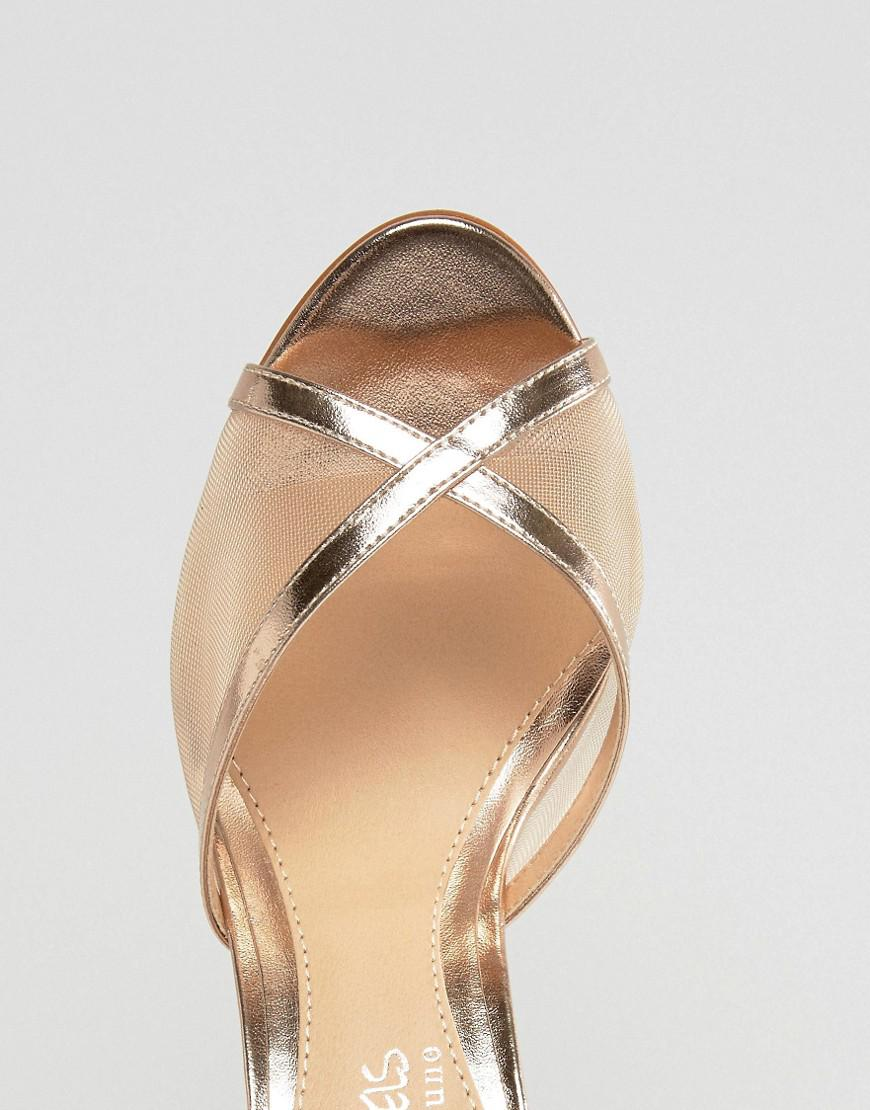 cad6c4515e62 Dune By Dune Meryl Rose Gold Heeled Sandals in Metallic - Lyst