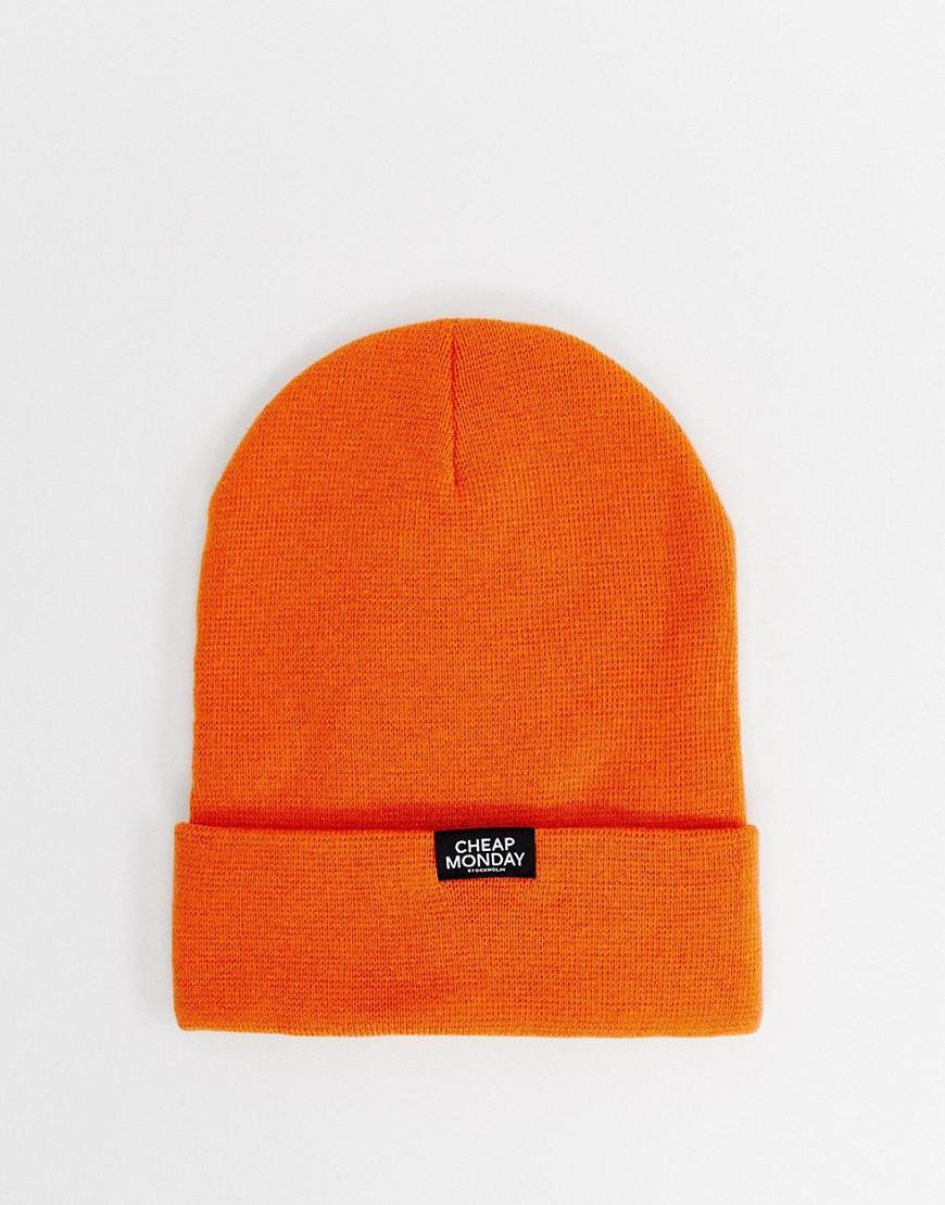 d95fc12cba9 Cheap Monday Logo Beanie In Orange in Orange for Men - Lyst