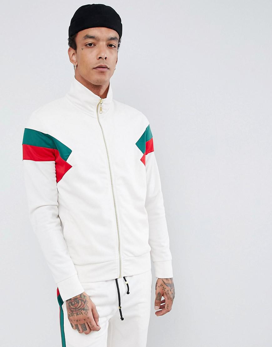333f41b36a0 Criminal Damage Track Jacket In White With Red Side Stripe in White ...