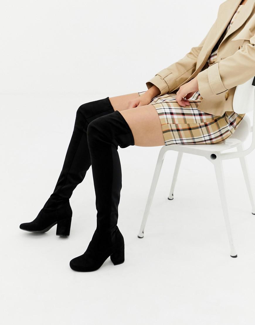 7344df21316 ASOS Kadi Heeled Thigh High Boots in Black - Lyst